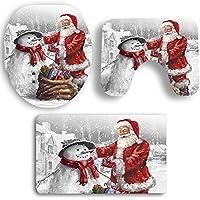 Alivier 3 Stück Weihnachten Weihnachtsmann und Schneemann WC Sitzbezug und Teppich Dekorationen Badezimmer Set
