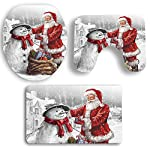 YOUNICER 3 PCS Christmas Santa Claus And Snowman Toilet Seat Cover And rug Decorations Bathroom Set