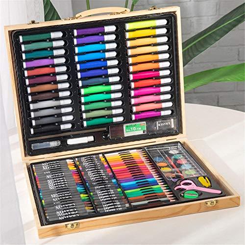 Mal- und Zeichenset, für Kinder, Malstifte, 150 Stück, Ölpastellfarben und Acrylfarben, Künstler-Sets, Aquarellstift, Geschenk-Box aus Massivholz