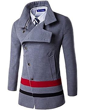 Hombre Trenca Chaqueta Larga De Invierno Slim Elegante Trench Coat Doble Botonadura Parka Con Botones