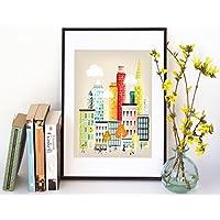 New York Print, Manhattan, Wall Art Poster Skyline Villes Ville affiche. Disponible dans les formats de papier A4, A3, A2