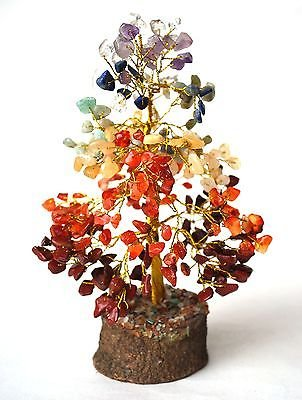 Healing Crystals India® Seven Chakra Tree - Stone of Gentle Love Height 7+ Inches(Amethyst,Carnelian,Red Jasper, Lapis Lazuli, Green Aventurine) + Free 135 Pages E-book about Crystal Healing