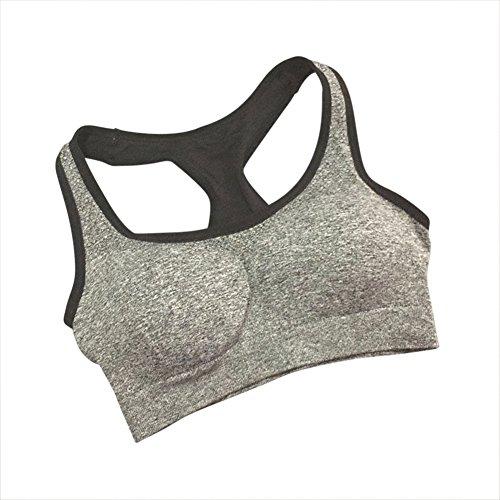 Femme Soutien-gorge de sport sans couture Brassière Yoga sous-vêtements séchage rapide Gris