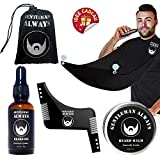 Gentleman Always Kit Entretien et Rasage Barbe incluant Tablier à Barbe + Peigne Pochoir de Façonnage de Barbe + Kit Grooming Barbe + Pochette (Noir)