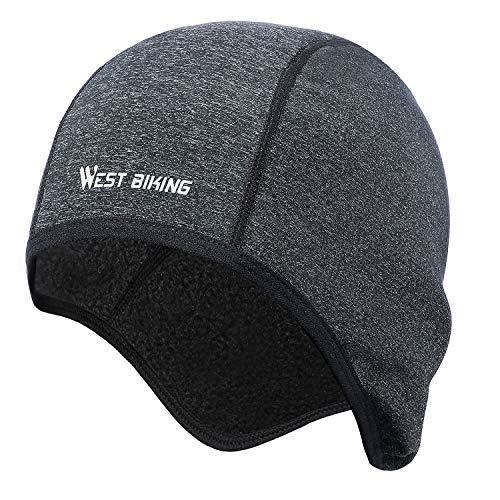 WESTGIRL Helm Liner Skull Cap Mütze mit Ohrmuscheln, winddichter Fleece-Hut Feuchtigkeitstransport für das Radfahren Laufen, Skifahren Wintersport, ultimative thermische Retention, passt unter Helme -