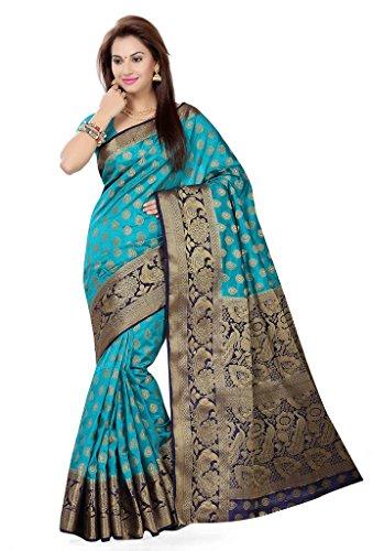 ishin Women's Tussar Silk Saree With Blouse Piece (Sngm-16025 _Blue & Golden)