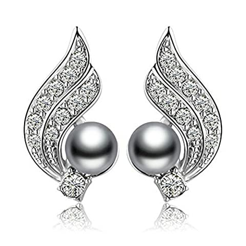 Yoursfs Pearl Earrings Sparkle Diamante Angle Wings Women Jewelry/18K White Gold Plated Fashion Wedding Earrings/Cubic Zirconia Studs