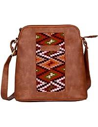 Kalamargam Collective Kullu Weave & Vegan Leather Sling Bag (Multi-Coloured, KC-SB69)