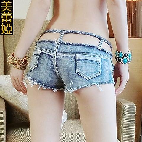 CU@EY Solide de femmes plus faible hauteur Club Slim hanche denim shorts pantalon, light blue,L