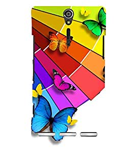 PrintVisa Beautiful Butterfly Pattern 3D Hard Polycarbonate Designer Back Case Cover for Sony Xperia SL :: Sony Xperia S :: Sony Xperia SL LT26I LT26ii