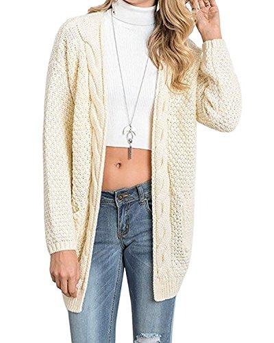 CNFIO Pullover Damen Strickjacke Lässig Casual Cardigan Langarm Outwear mit Taschen Mantel Jacke Winter