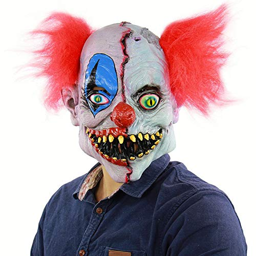 HITSAN INCORPORATION Clown Costume Mask Creepy Evil Scary Halloween Clown Mask Adult Ghost Festive Party Mask Supplies Decoration6613
