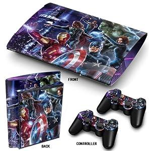 PS3 Super Slim Playstation Haut-, PVC für Konsole + 2 Controller / Pads Aufkleber-Schutz-Abdeckung Art Leather Effect