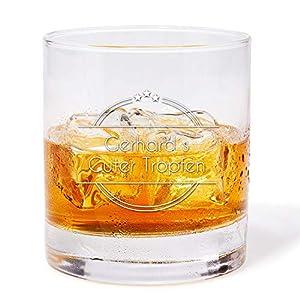 Geschenke.de Personalisierbares Whisky Glas mit Gravur Namen - individuelles Geschenk für Männer Geburstag, als Vater Geschenkidee, Geschenk Mann 50, 60 und als besonderes Geschenk für Opa
