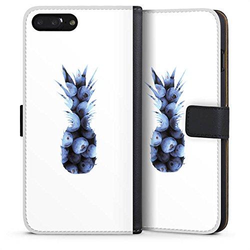 Apple iPhone 6 Silikon Hülle Case Schutzhülle Ananas Blaubeeren Muster Sideflip Tasche schwarz