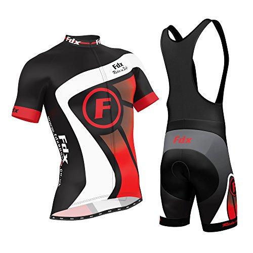 FDX - Set ciclismo da uomo con maglia a maniche corte traspirante + salopette con shorts