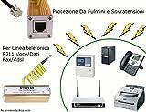 TechnoMedia Protezione da Sovratensioni e Scariche di Fulmini RJ11 Presa telefonica