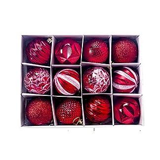 Snner Bola Roja De Los Ornamentos De Navidad Que Cuelga La Decoración del árbol Inastillable Espumoso Bola Colgante De Mercurio Bolas Vintage para El Hogar Decoración del Partido 12pzas