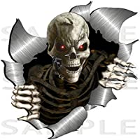 small size Single Metal Rip Open Torn Skeleton Skull Sticker