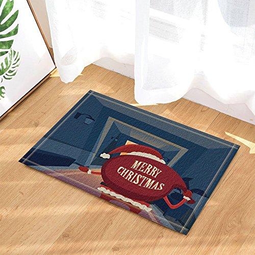 gohebe Weihnachts Decors Santa Claus mit großen Geschenkbox in Kamin für Kinder Bad Teppiche rutschhemmend Fußmatte Boden Eingänge Innen vorne Fußmatte Kinder Badematte 39,9x 59,9cm Badezimmer Zubehör