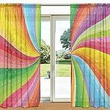 ALAZA Spiral Regenbogen-Streifen mit Sternen Printed Sheer Fenster und Tür-Vorhang 2 Panels 55