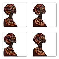 Ambesonne African Coaster Set of Four, Tribal Exotic Beauty Woman Figure with Traditional Mask Totem Illustration, Square Hardboard Gloss Coasters for Drinks, Brown and Cinnamon