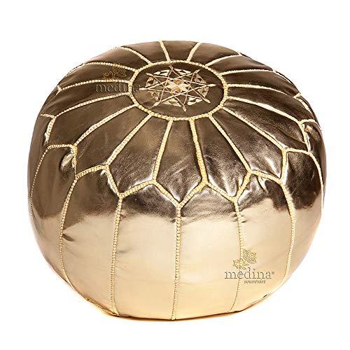Puf de Piel marroquí Oro, Poof Totalmente Artesanal de diseño - Llen