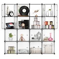 LANGRIA 16-Cube Modular Shelving Storage Organizing Closet with Translucent Doors and Cube Design for Clothes, Shoes, Toys and Books (White)