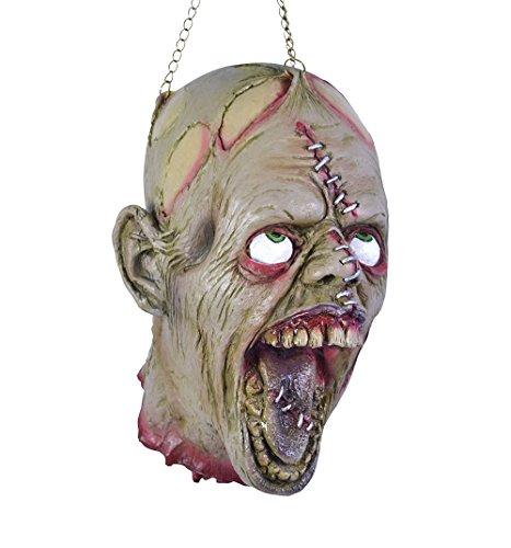 Preisvergleich Produktbild Abgetrennter Folter Kopf mit aufgerissenen Augen und Kette am Kopf zum Aufhängen mut blutigem Hals Stumpf Halloween Horror