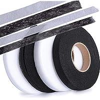 256m Cinta de Dobladillo Adhesiva Planchar sin Coser Fusible Fusión de Tela para Ropa Manualidades Ancho 1cm, 1.5cm, 4 Rollos total, (Blanco*2 + Negro*2)