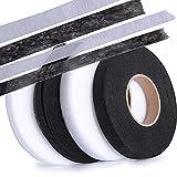 SERWOO 250m 4 Rotoli Nastro Adesivo Tessuto Fusibile Orlo Termoadesivo Facile Rapido Veloce per Pantaloni Abbigliamento Vestiti Bianco Nero (2 Rotoli 10mm, 2 Rotoli 15mm)