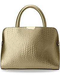 ca65623d687aa elegante Damentasche Bowling Bag mit Kroko - Prägung Handtasche City - Tasche  gold