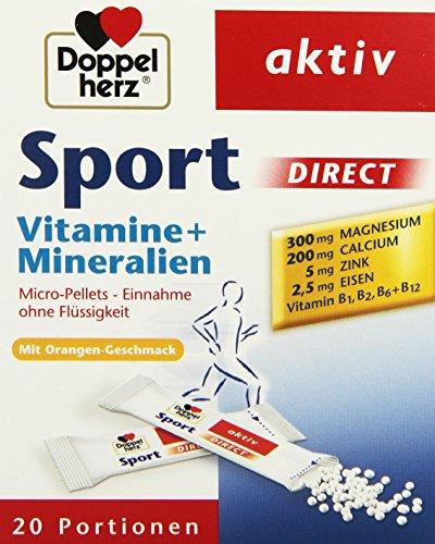 Doppelherz Sport DIRECT mit Orangen-Geschmack | Nahrungsergänzungsmittel mit B-Vitaminen und Mineralien für Sportler und körperlich Aktive | 20 Portionen (20 x Micro-Pellets = 40 g) (Beutel Unterstützen)