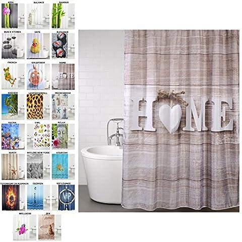 Duschvorhang, viele schöne Duschvorhänge zur Auswahl, hochwertige Qualität, inkl. 12 Ringe, wasserdicht, Anti-Schimmel-Effekt (Home, 180 x 200