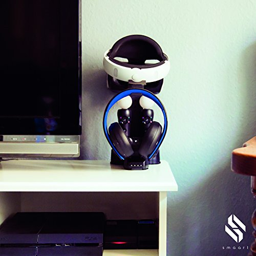 smaart® Playstation VR Ladestation | die perfekte Halterung für VR Brille + 2 Dual Shock Controller + 2 Move Controller | inkl. fast Connect Adapter und LED Anzeige für Ladestatus