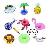 SUNSHINETEK 10 PCS Soportes inflables para Bebidas Unicorn Flamingo Mermaid...