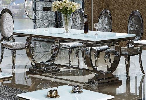 Diament Set Esstisch Amelie Barockstil Glasplatte Glasplatte Weiss, Esstisch Größe 180