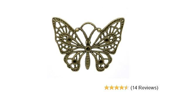 Schmetterling - - Charming Beads 3 x Steampunk Antik Bronze Tibetanische 48mm Charms Anh/änger ZX05710