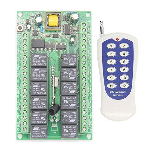 Taste Pumpe (12-Kanal Funkfernsteuerung Funkempfänger Funkschaltsystem AC230V 12-Taste Handsender Sender & Empfänger für Licht Motor Pumpe 200M Reichweite Kabellose Fernbedienung Schalter Relaisausgang)