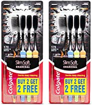 Colgate Slim Soft Charcoal Toothbrush (Buy 2 Get 2 Free) - 4 Pcs (Pack of 2)