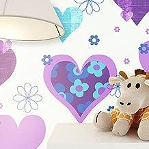 newroom pintado Lila Beige–Papel pintado infantil flores, corazón Bonito Moderno y diseño elegante para bebés, niños o niña, incluye tapezier Consejo donante