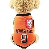 SungpunetPuppy Bekleidung Fußballnetz Atmungsaktiv T-Shirt Hund Bekleidung Nationalfußball Niederlande Fußballfans Haustier Hund Katze Orange (XS)