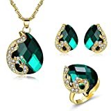 CATS Damenmode Glas Geometrische Halskette Ohrringe Set Fashion Trend Set Übertreibung Set, Grün Gold