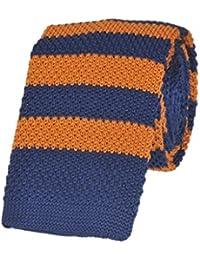 Tiekart men multi striped knitted skinny slim tie