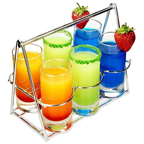 Bar@drinkstuff Panier porte-verres à liqueur - Ensemble pour dégustation 7 pièces, en acier inoxydable, avec 6 grands verres