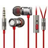 Auriculares Estéreos In-Ear, GGMM Ruiseñor Auriculares, Base de Metal con Aislamiento de Ruido, 3.5mm Plug para iPhone, iPad, Android Smartphones, MP3-Players (Gris)