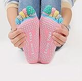 Veewon Set di 4paia di calzini antiscivolo con dita, da donna, ideali per yoga