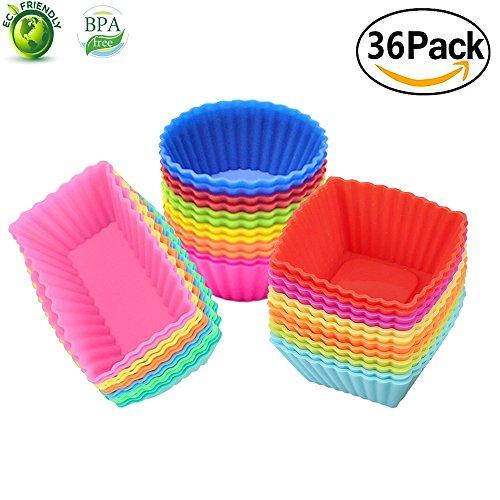 Silikon-cupcake-kuchen-form (Silikon Cupcake Muffin Backförmchen Liners 36 Stück wiederverwendbar Antihaft-Kuchen Formen Sets …)