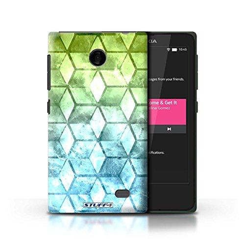 Kobalt® Imprimé Etui / Coque pour Nokia X / Jaun/Bleu conception / Série Cubes colorés Vert/Bleu