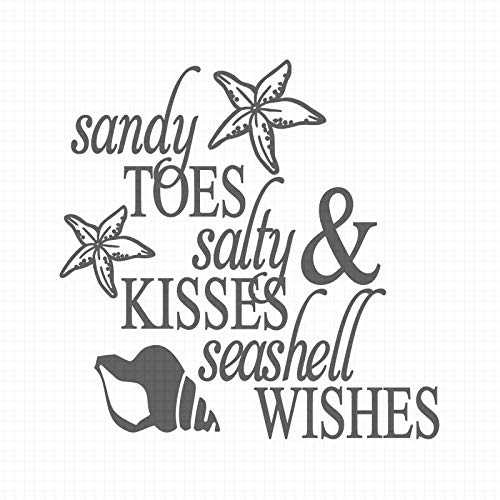 AllYouCanStamp Sandy Toes 100676 - Timbro con Scritta Salty & Kisses Seashell Wishes Stamp Size (30x30mm) Sandali Adventure Seeker, Punta Chiusa - T - Bambini
